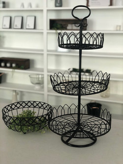 Wire Three-Tier Serving Tray & Bowl