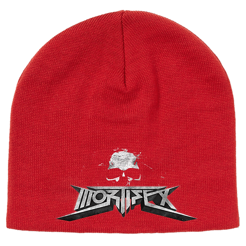 Mortifex Beanie - Red with embroidered Mortifex '3D Logo' on front.