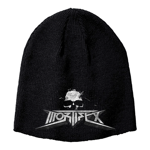 Mortifex Beanie - Black with embroidered Mortifex '3D Logo' on front.