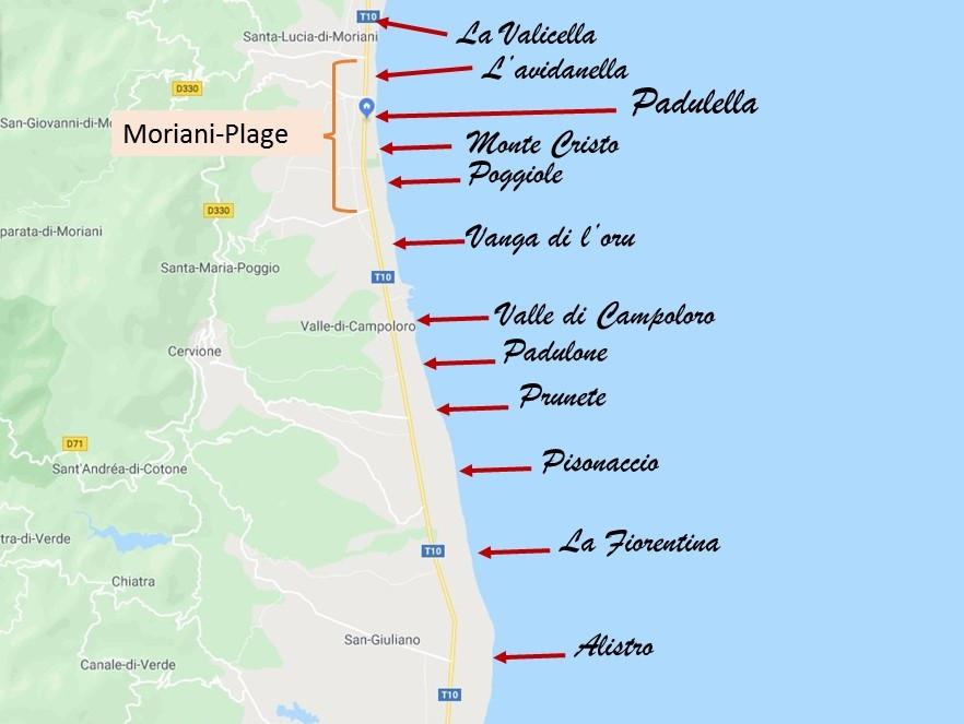 Carte des plages de la Costa verde