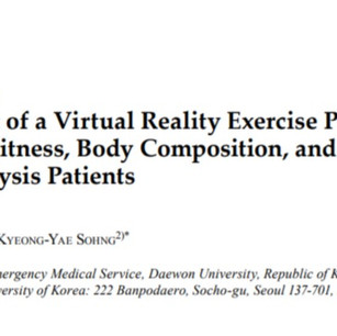 [Purpose] The aim of the present study was to investigate the effects of a virtual reality exercise program (VREP) on physical fitness, body composition, and fatigue in hemodialysis (HD) patients with end-stage renal failure. [Subjects and Methods] A nonequivalent control group pretest-posttest design was used. Forty-six HD patients were divided into exercise (n=23) and control groups (n=23); while waiting for their dialyses, the exercise group followed a VREP, and the control group received only their usual care. The VREP was accomplished using Nintendo's Wii Fit Plus for 40 minutes, 3 times a week for 8 weeks during the period of May 27 to July 19, 2013. Physical fitness (muscle strength, balance, flexibility), body composition (skeletal muscle mass, body fat rate, arm and leg muscle mass), and fatigue were measured at baseline and after the intervention. [Results] After the VREP, physical fitness and body composition significantly increased, and the level of fatigue significantly decreased in the exercise group. [Conclusion] These results suggest that a VREP improves physical fitness, body composition, and fatigue in HD patients. Based on the findings, VREPs should be used as a health promotion programs for HD patients. (Cho, et al., J Phys Ther Sci, 2014)