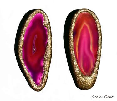 """Agathized"" Gold & Fuchsia"