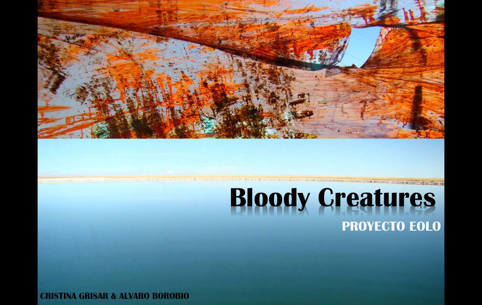 """Introductory text of the """"Bloody Creatures"""",  whose name comes from its predominant  red hue:_  """"These Eolic creatures are essentially aquatic  and, given their amphibian character, their basic  diet includes the curious aerial fish Volo Russus,  whose abundant hemoglobin expels a strong reddish color. Bloody Creatures are chameleonic beings and, due to their energetic movements, can be found in different states, both liquid and aerial, orbiting around the Black Holes, mesmerized by their great power of attraction""""."""
