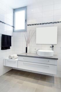 ארון אמבט מרחף בגימור פורמייקה מבריקה