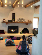yoga by the fireplace