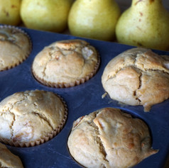 Sourdough Einkorn Ginger Pear Muffins