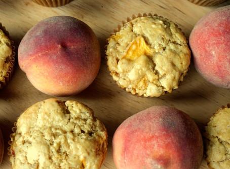 Ginger Peach Einkorn Muffins