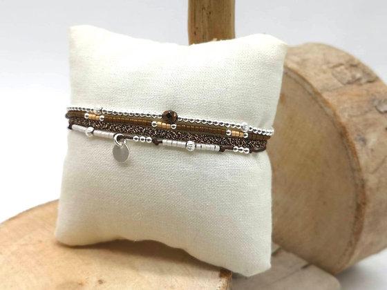 Bracelet Éléa Marron/Beige