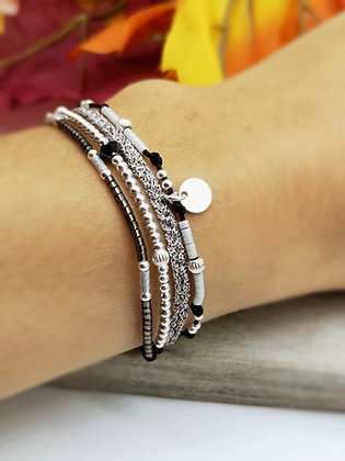 Bracelet Éléa Argent Gris/Blanc/Noir/ Fil argenté
