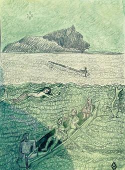 Пегий пес бегущий по краем моря