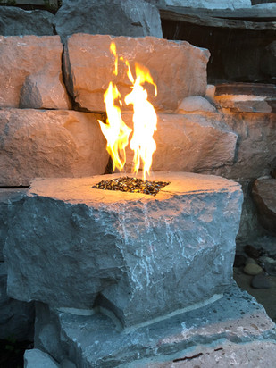 Custom Firepit on a waterfall
