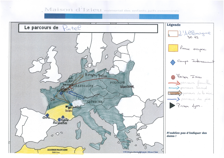 Carte du parcours de Samuel Pintel