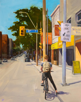Waiting for the light at Niagara St 30x24