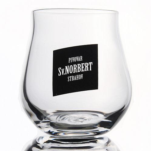Degustační sklenice Sv. Norbert, černé logo, 0,1 l