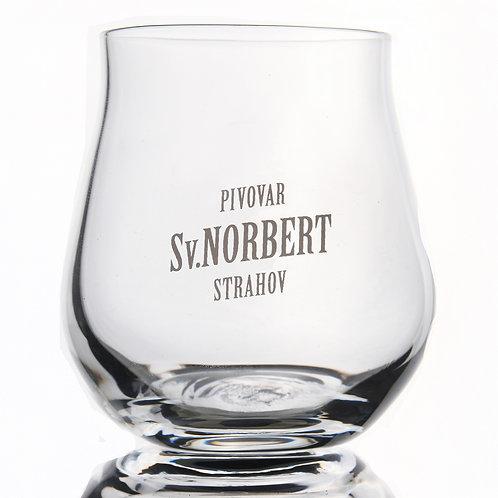 Degustační sklenice Sv. Norbert, bílé logo, 0,1 l