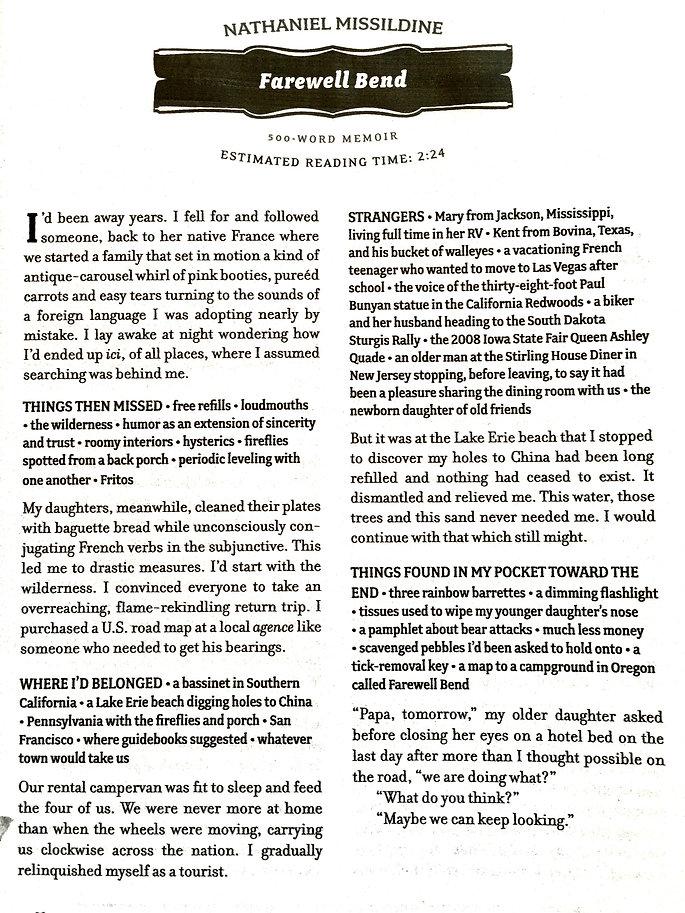 Opium Farewell Bend 500 word memoir piec