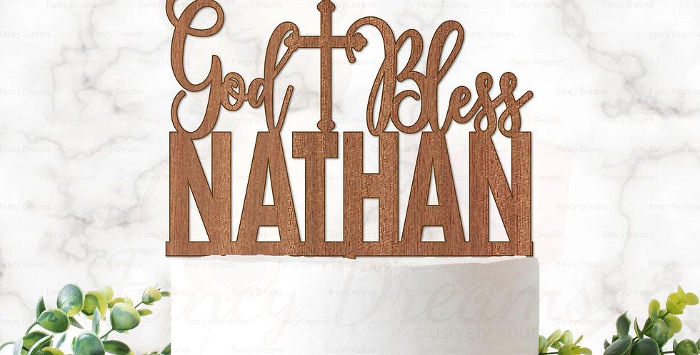God Bless +Name & Cross