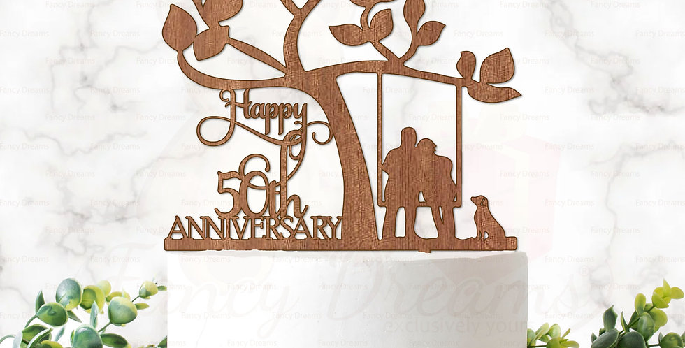 Happy 18th, 25th, 30th, 40th, 50th Anniversary + Tree + Dog & Couple on Swing