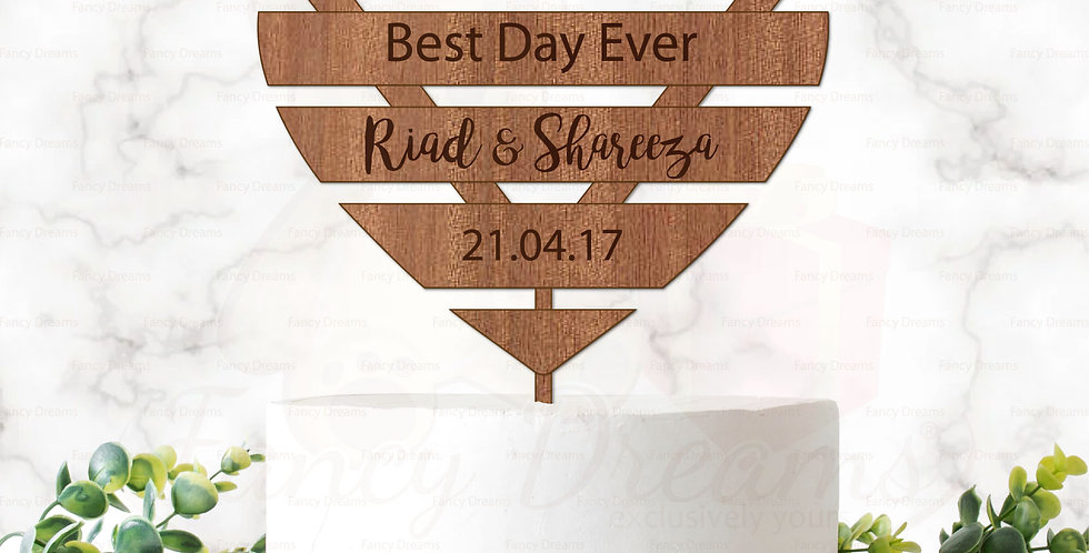 Wooden Heart + Engraving + Best Day Ever + Names & Date