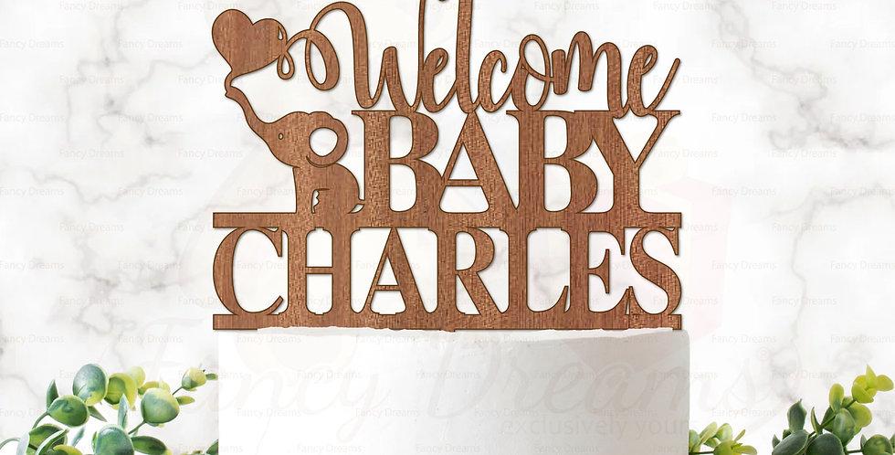 Welcome Baby + Name + Elephant & Heart Balloon