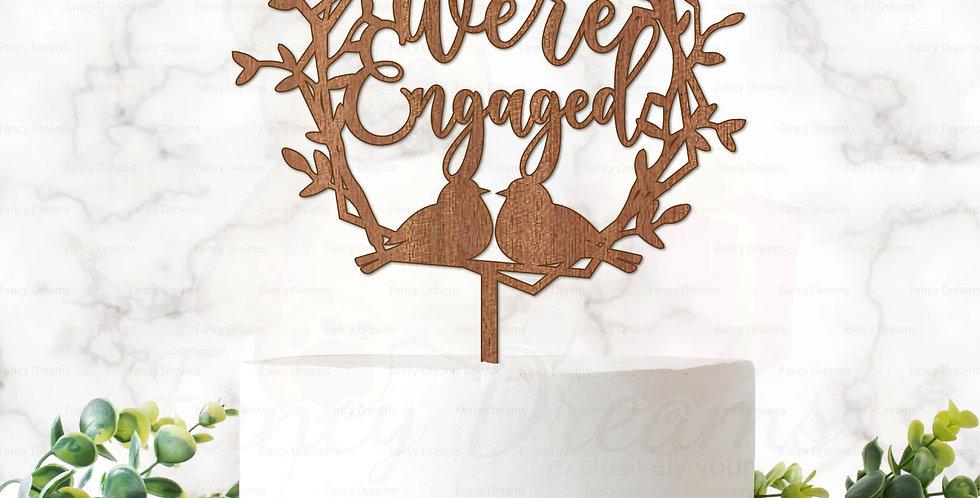 We're Engaged in Hexagonal Laurel + Love Birds& Branches