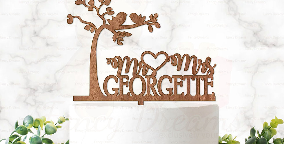 Tree + Love Birds + Mr & Mrs & Surname +Heart