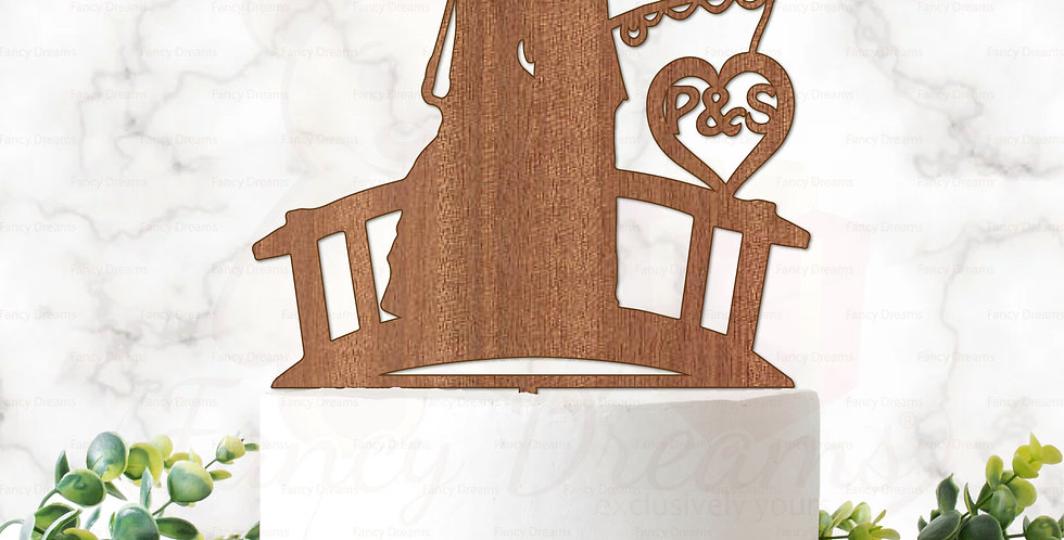 Couple Kissing on Bridge + Fishing Line & Initials in Heart