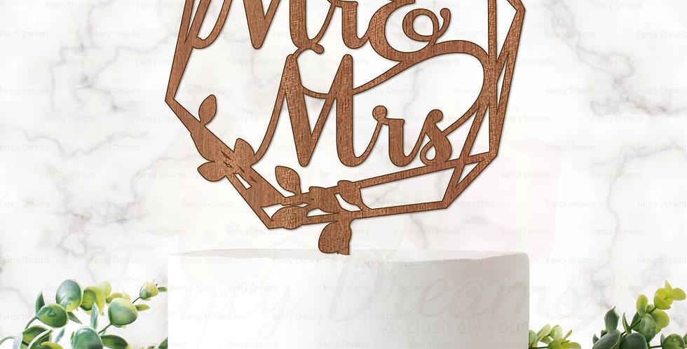 Mr & Mrs in Hexagonal Shape + Leaves