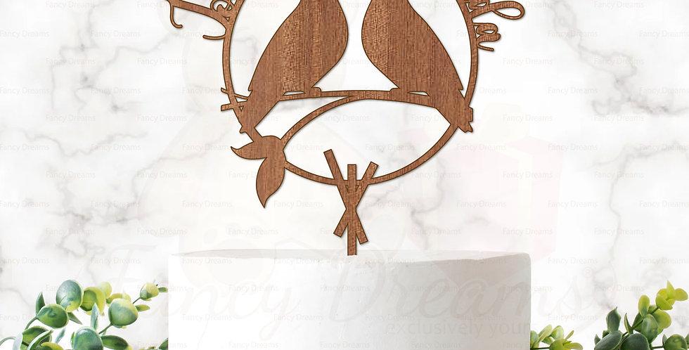 Love Birds on Branch + in Laurel & Names