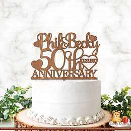 50th Anniversary + Names + Date in Heart