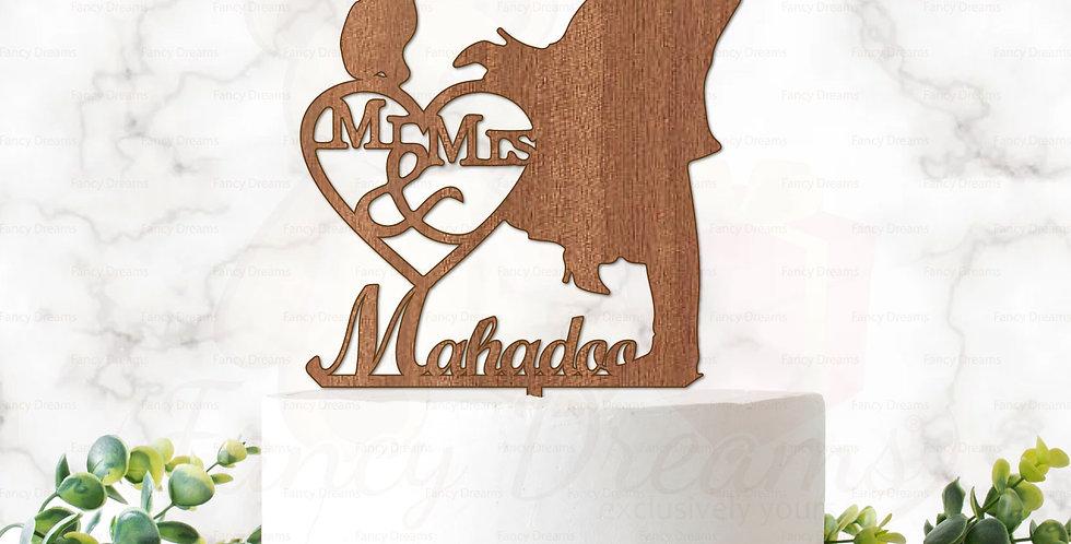 Couple Kissing + Surname & Mr & Mrs in Heart & Cat