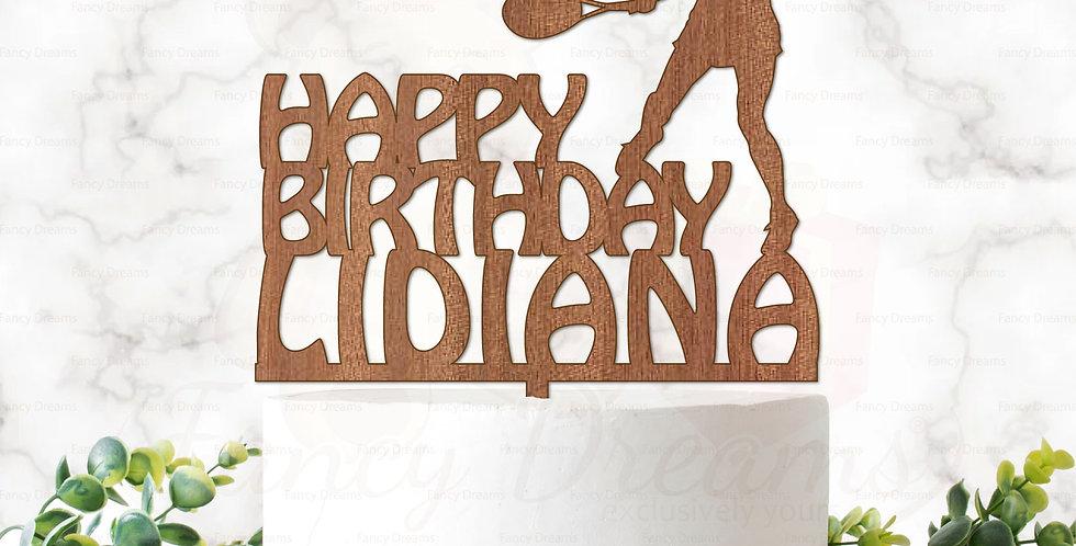 Tennis Woman & Happy Birthday + Name