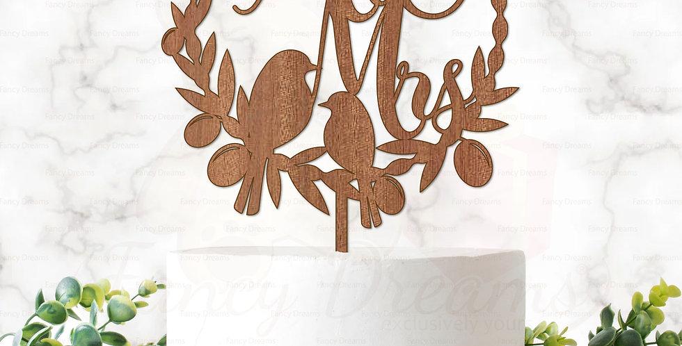 Mr & Mrs in Laurel + Love Birds + Leaves & Olives