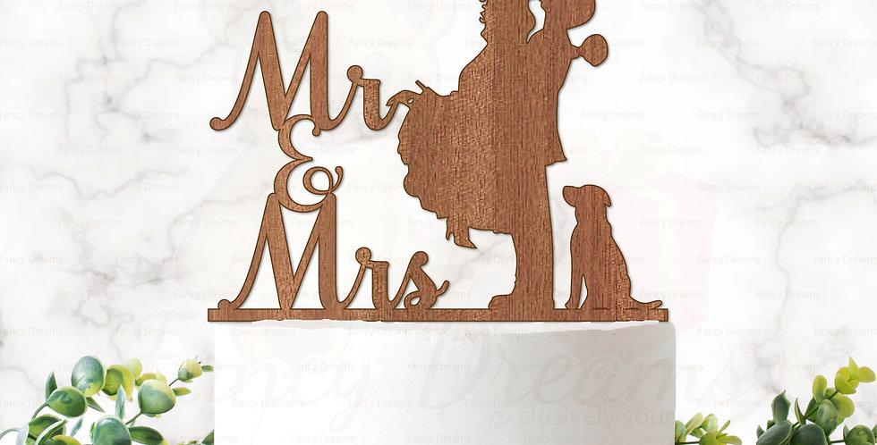 Mr & Mrs + Couple Kissing + Dog