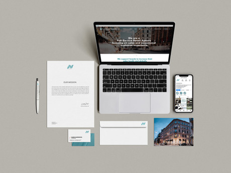 Overview of stationary, website and social media.