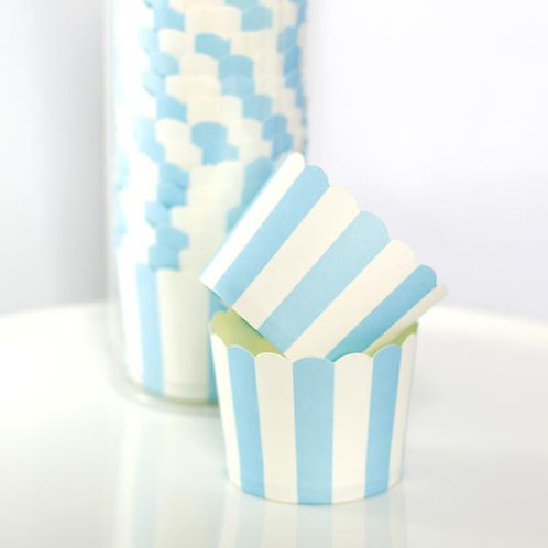 BAKE IN CUPS-Small Baby Blue Vertical Stripes