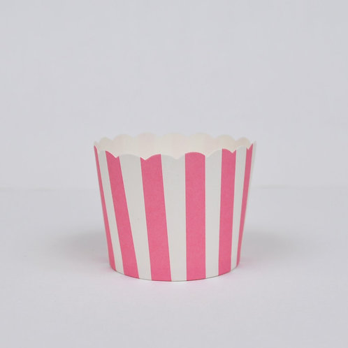 BAKE IN CUPS-Small Pink Vertical Stripes