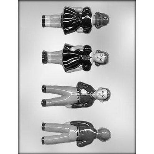 """BOY & GIRL 4¼"""" 3D CHOCOLATE MOLD"""