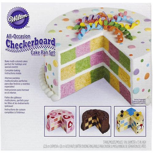 WILTON ROUND CHECKERBOARD CAKE PAN SET
