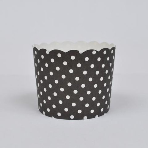 BAKE IN CUPS-Large Black and White Polka Dot