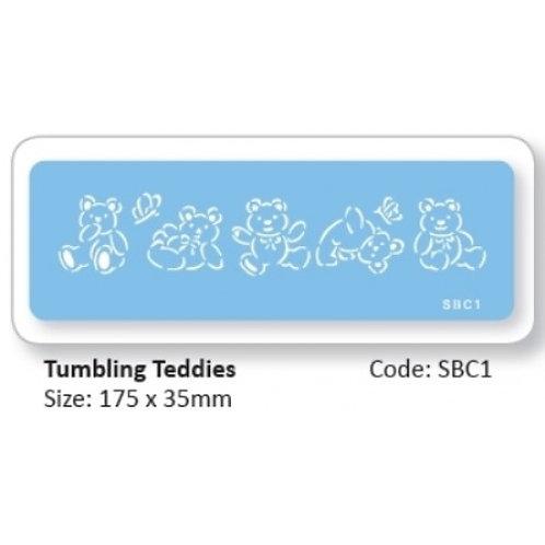 STENCIL TUMBLING TEDDIES