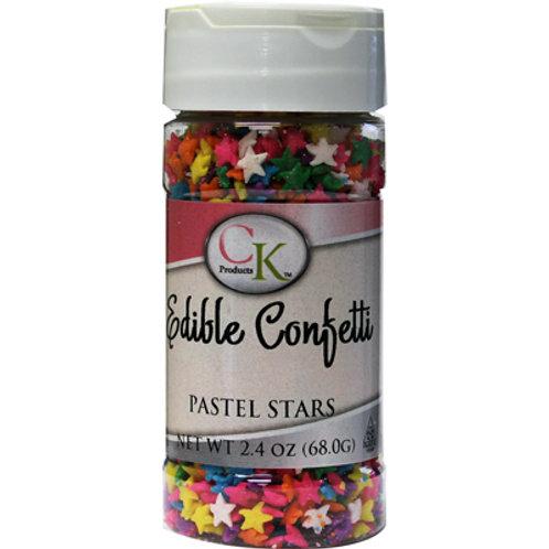 PASTEL STARS EDIBLE CONFETTI 2.4 OZ