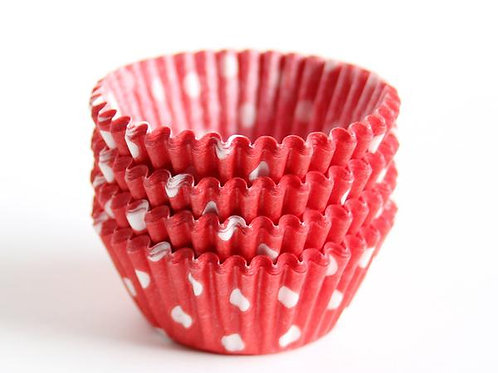 RED POLKA DOT MINI CUPCAKE LINERS