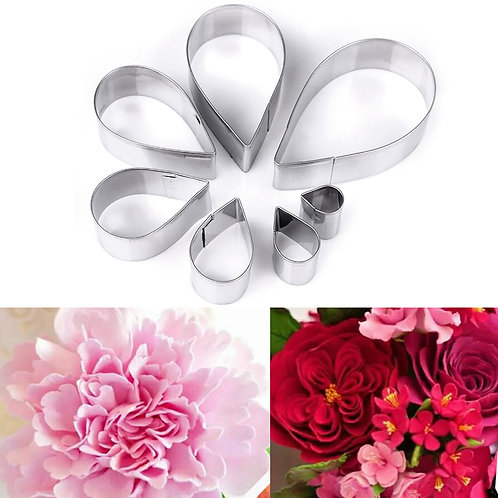6pcs set Rose & Peony Stainless Steel Cookie Cutter Cake Mold Tool Sugar Paste