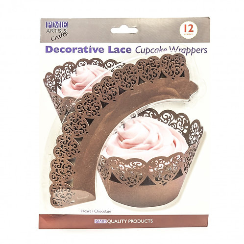 CHOCOLATE HEARTS-Decorative lace-cupcake wrappers