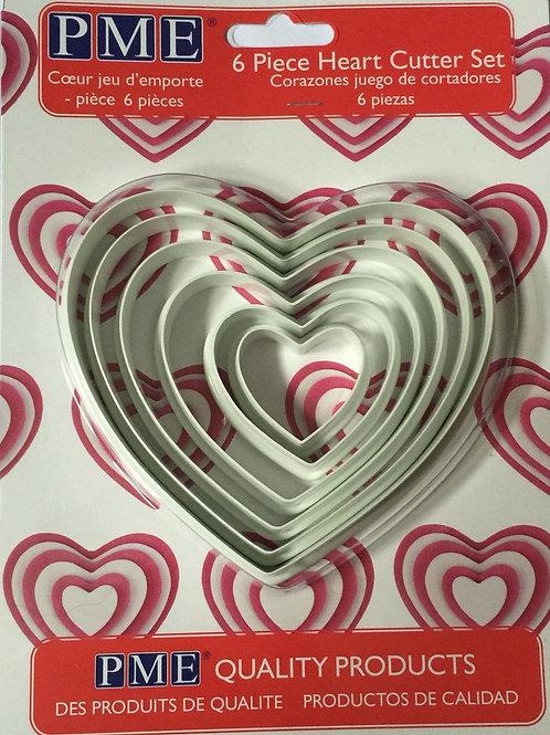 PME 6 Piece heart cutter set