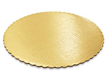 "12"" ROUND GOLD SCALLOPED CAKE BOARD"