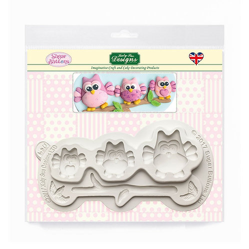 Owls Sugar Buttons Silicone Mould