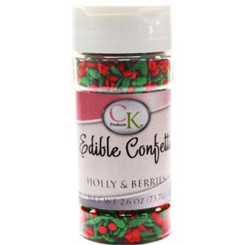HOLLY & BERRIES EDIBLE CONFETTI 2.6 OZ