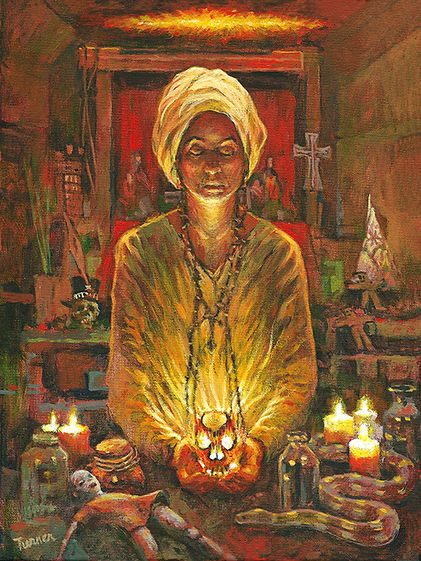 Marie Laveau casting spells, New Orleans, Acrylic painting by John Turner